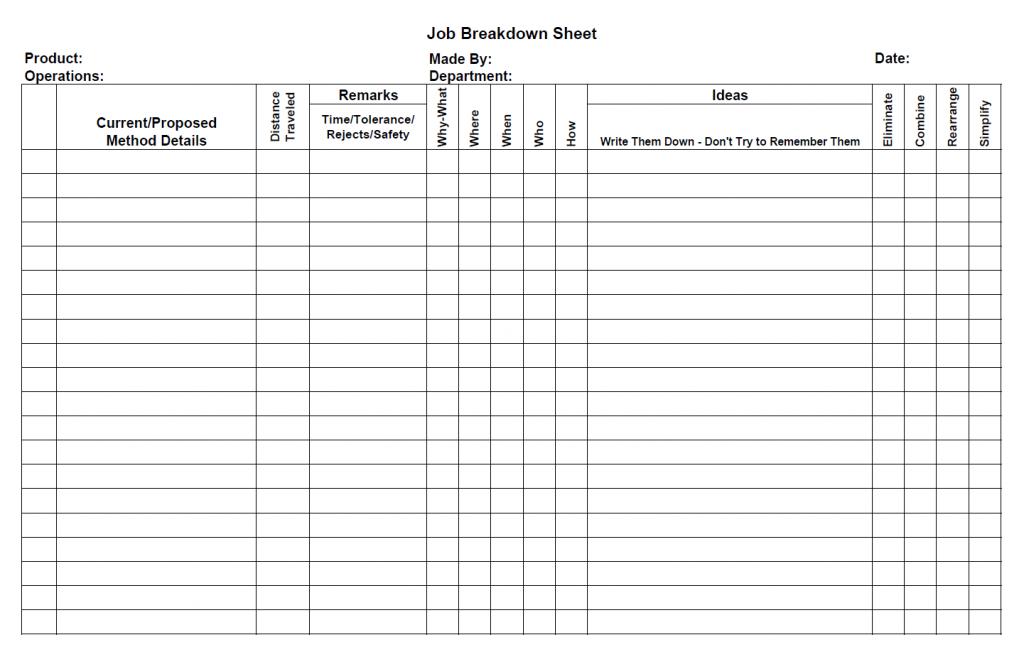 JM Job Breakdown Sheet U2013 Blank